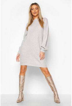 Silver grey Crew Neck Fisherman Rib Sweater Dress