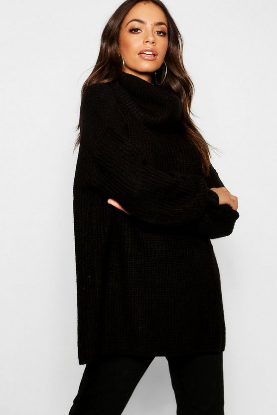 Womens Black Oversized Chunky Jumper