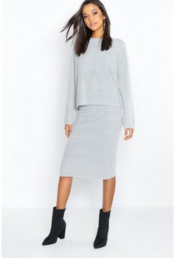 Womens Grey Two Piece Knitted Set