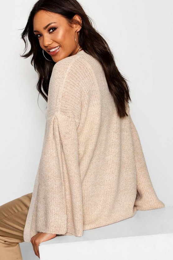 Flared Sleeve Open Front Cardigan