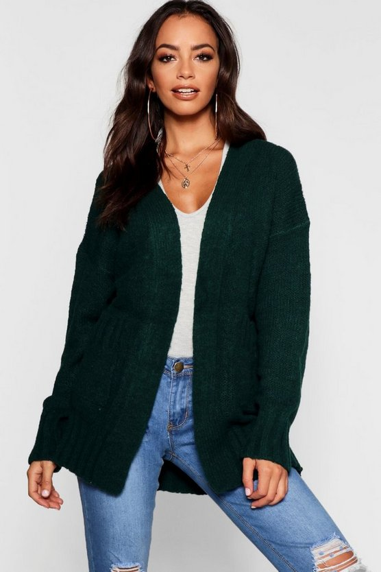 Womens Green Cardigan With Pockets