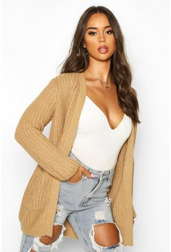 Womens Camel Chunky Cardigan With Pockets