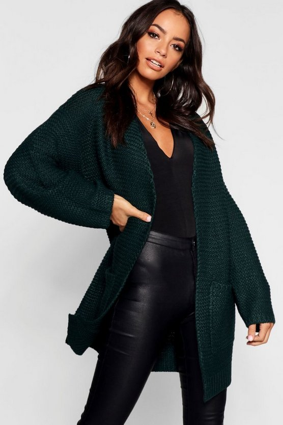 Womens Green Open Front Cardigan With Balloon Sleeve
