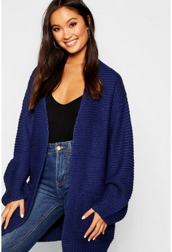 Womens Navy Open Front Cardigan With Balloon Sleeve