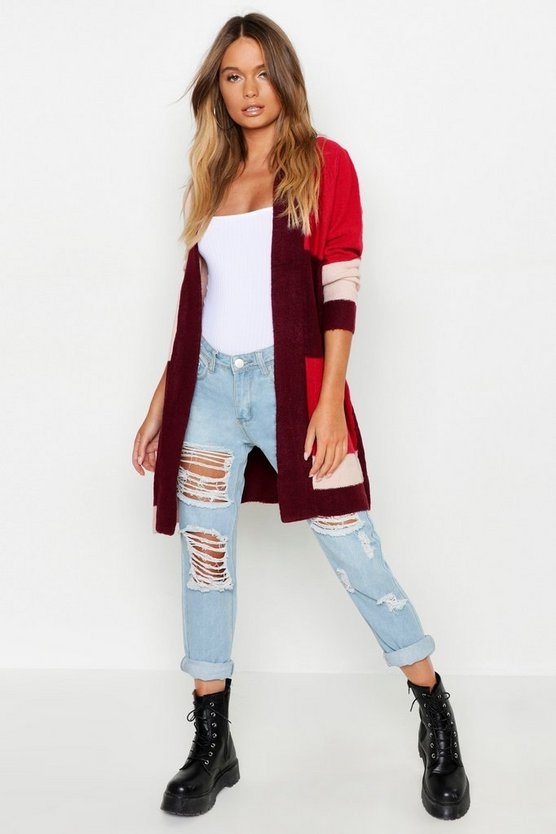 Womens Wine Open Front Colour Block Cardigan