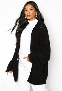 Black Chunky Fisherman Knit Raglan Sleeve Cardigan