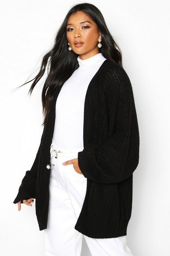 Womens Black Chunky Fisherman Knit Raglan Sleeve Cardigan