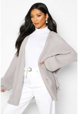 Silver Chunky Fisherman Knit Raglan Sleeve Cardigan