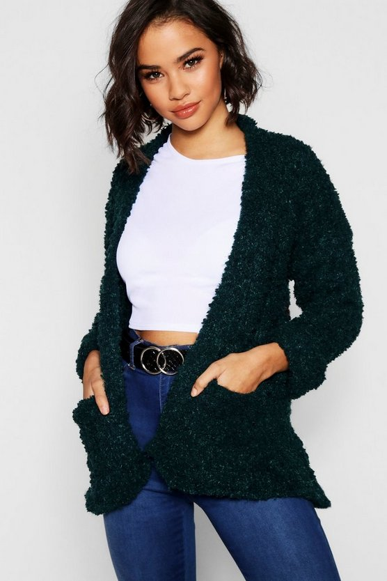 Womens Green Edge To Edge Cardigan With Textured Yarn Mix