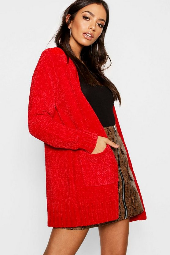 Womens Scarlet Chenille Edge To Edge Cardigan