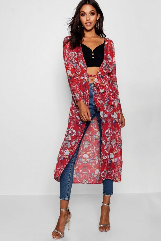 Womens Red Floral Belted Kimono