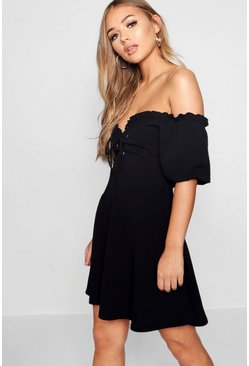 Dam Black Lace Up Front Puff Sleeve Tea Dress