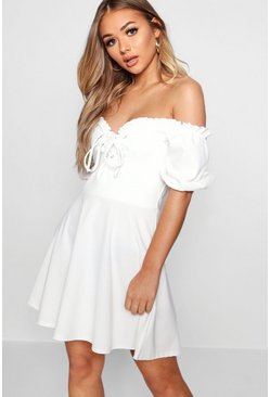 Ivory Lace Up Front Puff Sleeve Tea Dress