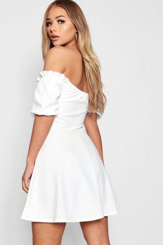 Lace Up Front Puff Sleeve Tea Dress
