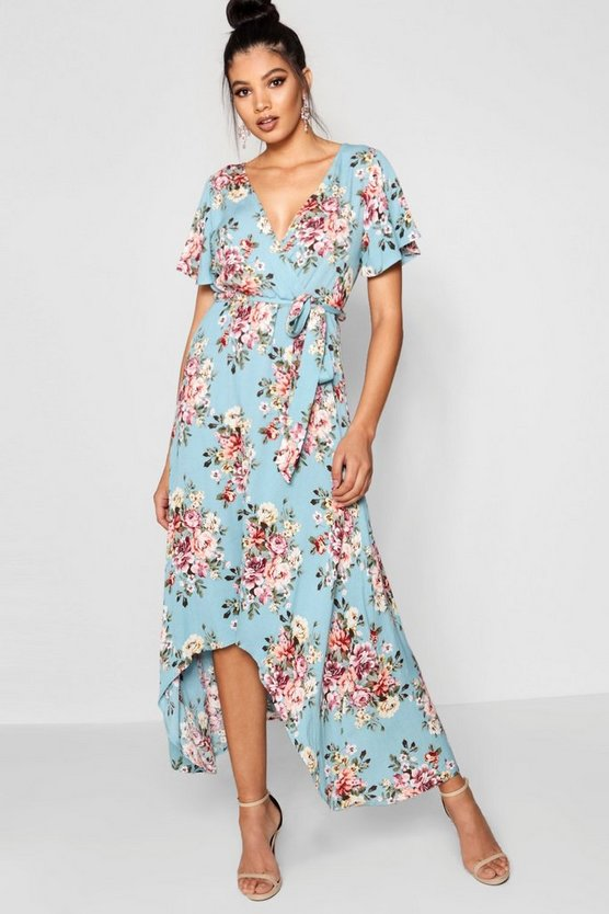 Dip Hem Belted Wrap Maxi Dress