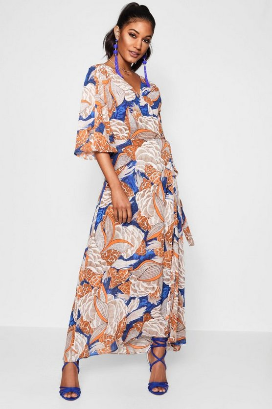 Bright Floral Wrap Front Maxi Dress