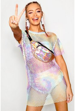 Womens Blue Pastel Tie Dye Mesh T-shirt Dress