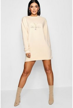 Womens Natural New York Tonal Sweat Dress