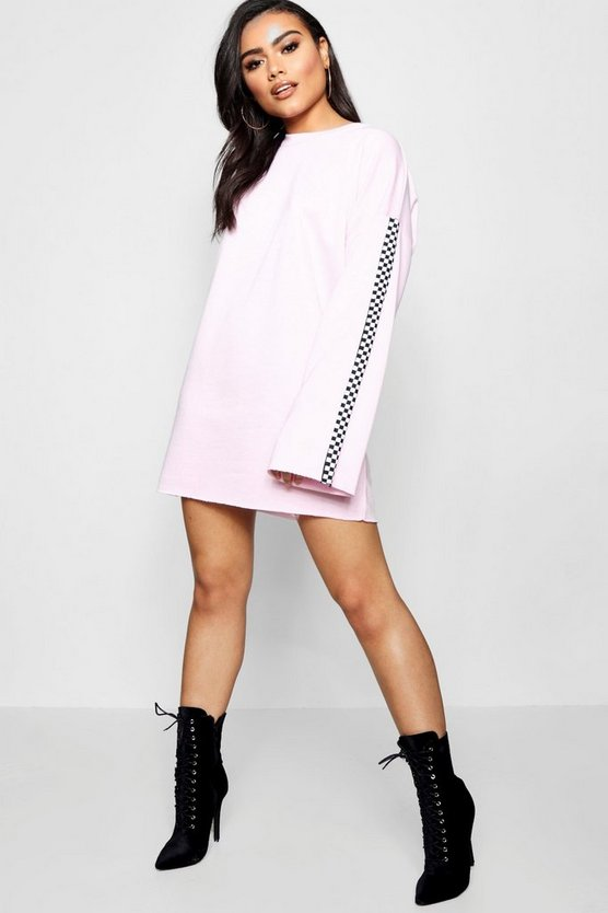 Lily Wide Sleeve Checked Tape Sweat Dress