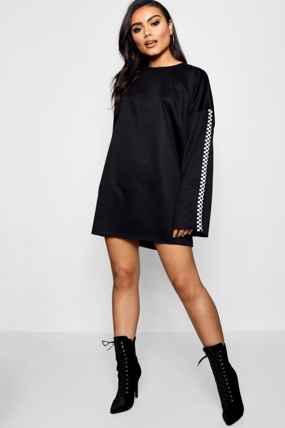 Wide Sleeve Checked Tape Sweat Dress