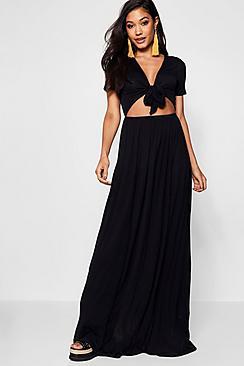 Knot Front Short Sleeve Maxi Dress