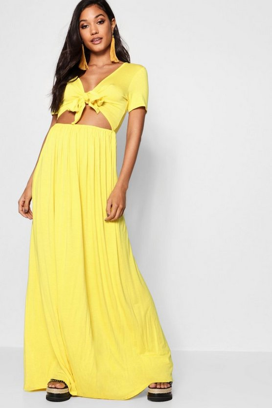 Knot Front Short Sleeve Maxi Dress