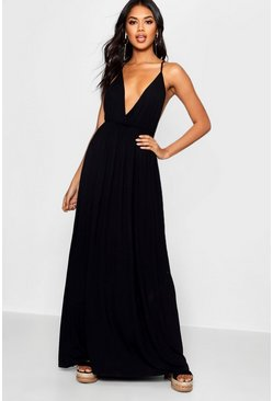 Womens Black Plunge Front Floor Sweeping Maxi Dress