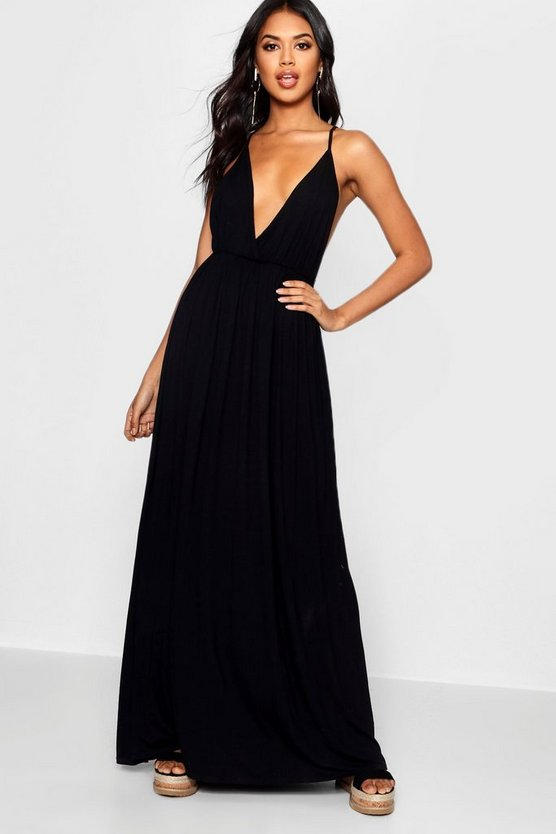 Plunge Front Floor Sweeping Maxi Dress