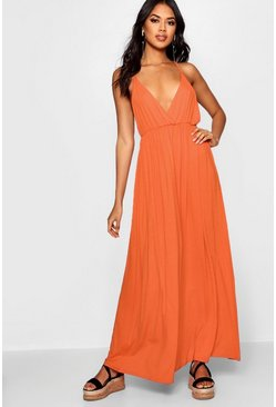 Womens Tangerine Plunge Front Floor Sweeping Maxi Dress