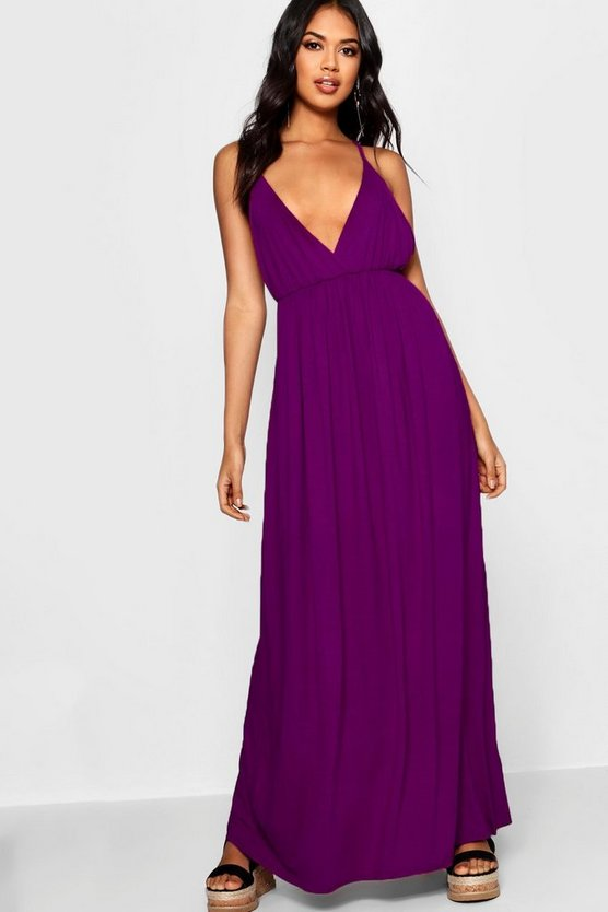 Womens Ultra violet Plunge Front Floor Sweeping Maxi Dress