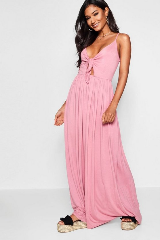 Knot Front Floor Sweeping Maxi Dress
