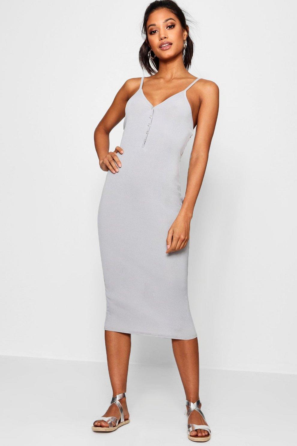 d11f1fb544 Popper Detail Rib Cami Midi Dress | Boohoo