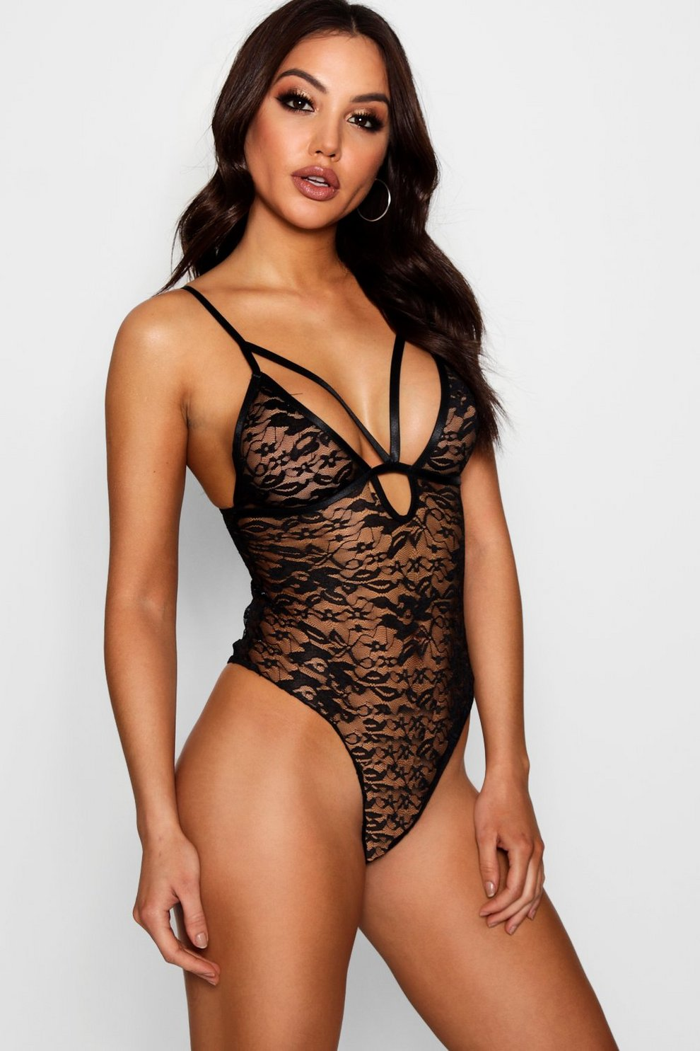 acfed135fa Womens Black Lace Caged Strappy Bodysuit