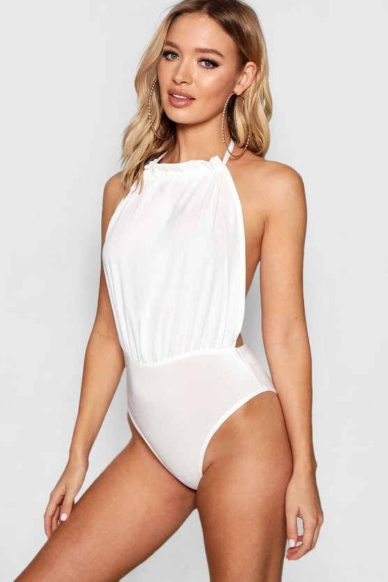 Womens White Halter Ruched Neck Backless Bodysuit