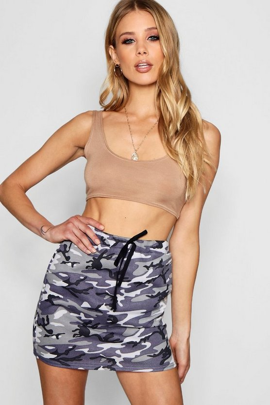 Womens Grey Allegra Camo Loopback Mini Skirt