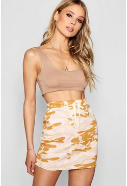 Womens Sand Allegra Camo Loopback Mini Skirt