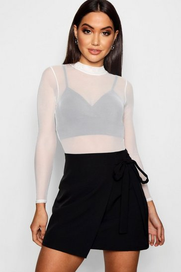 Womens Black Wrap Tie Woven Mini Skirt