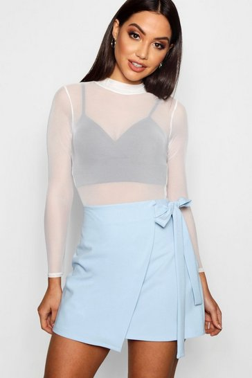Pastel blue Wrap Tie Woven Mini Skirt