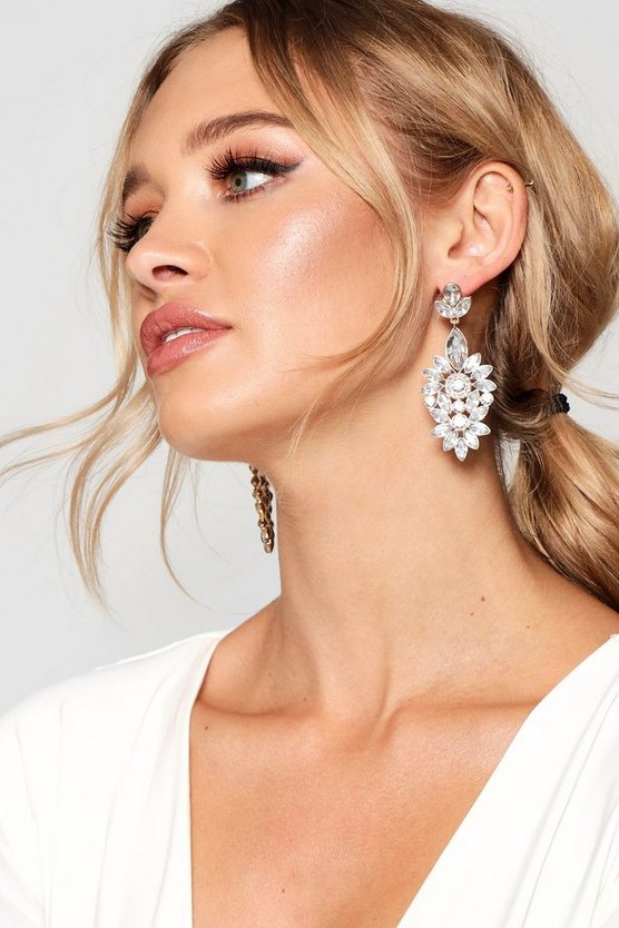 Womens Clear Statement Floral Diamante Earrings