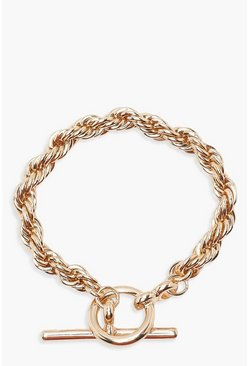 Womens Gold Chunky Chain T Bar Bracelet