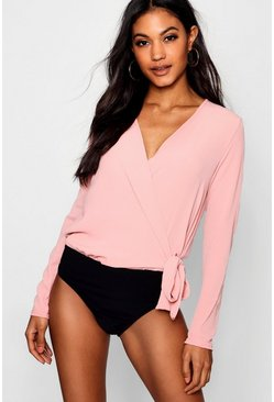 Womens Pink Wrap Over Tie Side Bodysuit