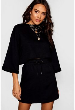 Womens Black Basic Sweat Tonal Mini Skirt