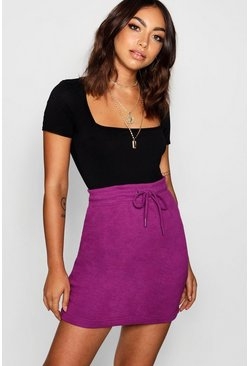 Womens Purple Basic Sweat Tonal Mini Skirt