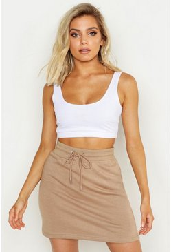 Womens Sand Basic Sweat Tonal Mini Skirt