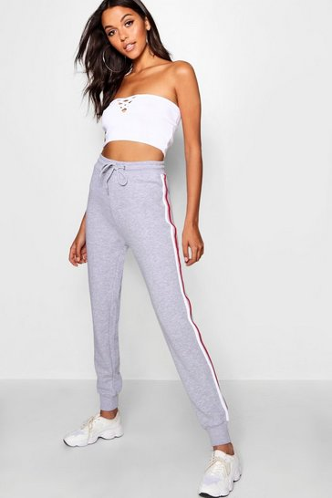 Womens Grey marl Sports Stripe Sweat Jogger