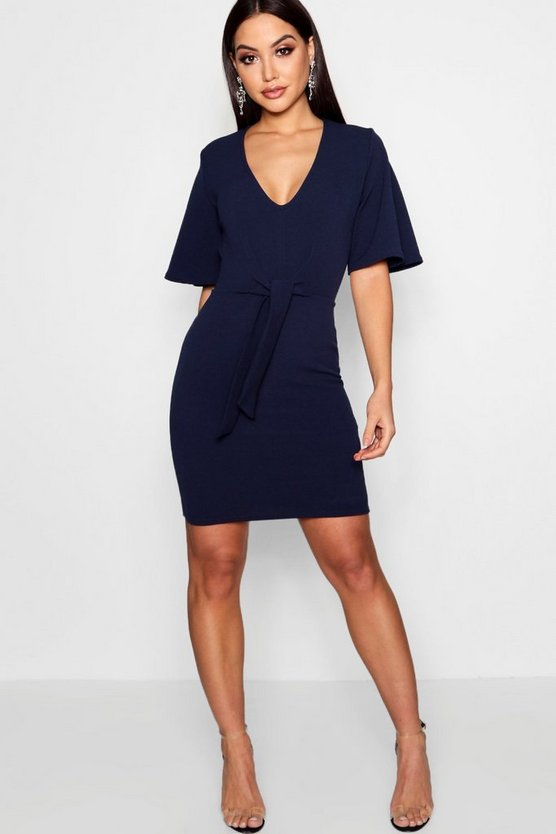 Tie Front Bodycon Dress