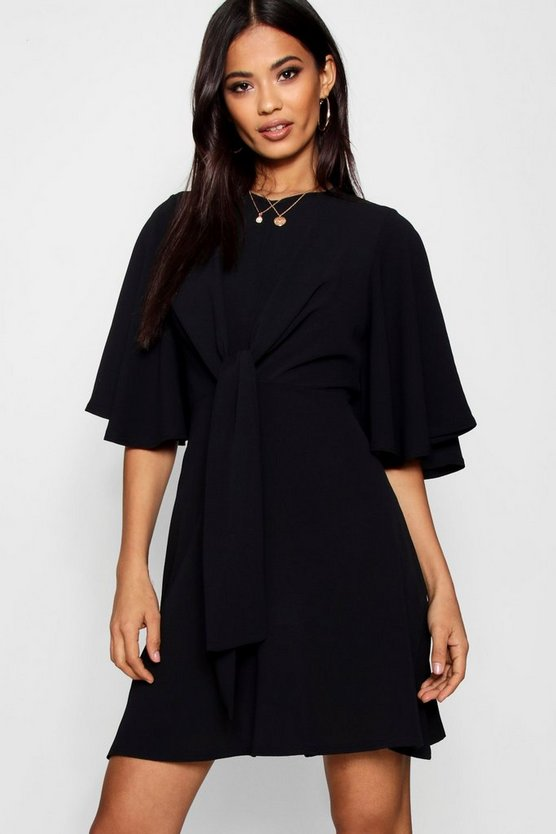 Black Tie Front Woven Skater Dress