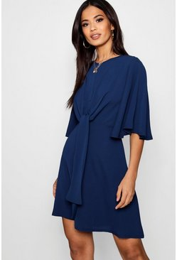 Womens Navy Tie Front Woven Skater Dress