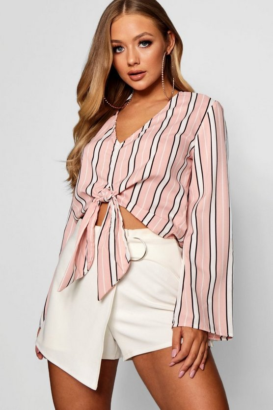 Ashlee V Neck Tie Front Flared Sleeve Top