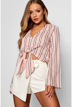 Womens Pink Ashlee V Neck Tie Front Flared Sleeve Top